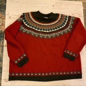 Eddie Bauer 100% wool fair isle  print sweater xxl